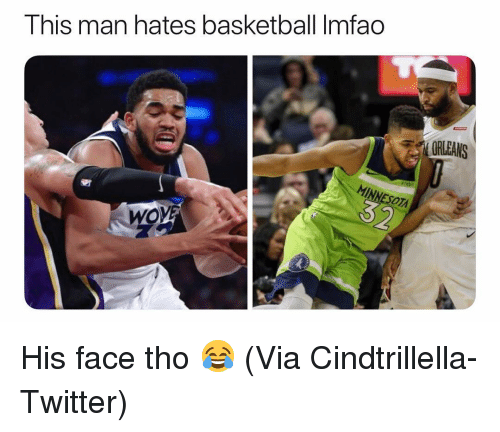 Basketball, Nba, and Sports: This man hates basketball Imfao  ORLEANS  ESOT  OVE His face tho 😂 (Via Cindtrillella-Twitter)