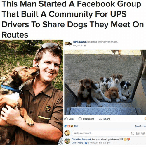 Community, Dogs, and Facebook: This Man Started A Facebook Group  That Built A Community For UPS  Drivers To Share Dogs They Meet On  Routes  UPS DOGS updated their cover photo.  August 3-  ps  Lke Comment Share  00 459  Top Comm  Write a comment.  Christina Bomba k Are you delivering in heaven???  Like Reply O9 August 3 at 9:51pm