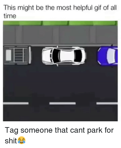 Funny, Gif, and Shit: This might be the most helpful gif of all  time Tag someone that cant park for shit😂