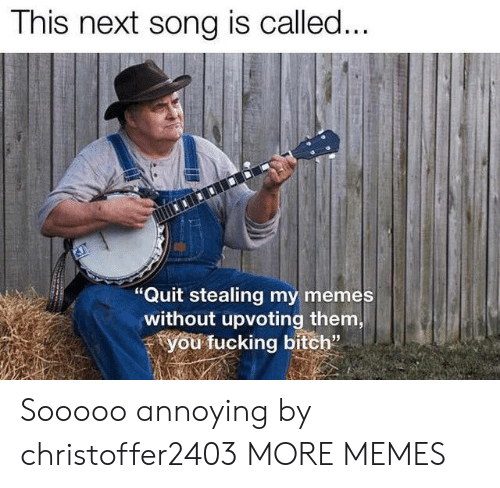 """My Memes: This next song is called...  """"Quit stealing my memes  without upvoting them,  you fucking bitch"""" Sooooo annoying by christoffer2403 MORE MEMES"""