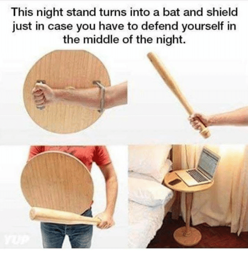 Dank, The Middle, and 🤖: This night stand turns into a bat and shield  just in case you have to defend yourself in  the middle of the night.
