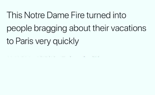 Fire, Funny, and Notre Dame: This Notre Dame Fire turned into  people bragging about their vacations  to Paris very quickly