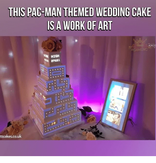 Memes, Work, and Cake: THIS PAC-MAN THEMED WEDDING CAKE  S A WORK OF ART  ANGI  HIGH  27621  ttcakes.co.uk