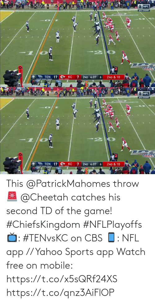 Second: This @PatrickMahomes throw 🚨  @Cheetah catches his second TD of the game! #ChiefsKingdom #NFLPlayoffs  📺: #TENvsKC on CBS 📱: NFL app // Yahoo Sports app Watch free on mobile: https://t.co/x5sQRf24XS https://t.co/qnz3AiFlOP
