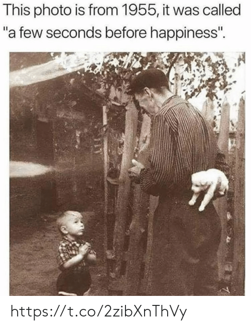 """Memes, Happiness, and 🤖: This photo is from 1955, it was called  """"a few seconds before happiness""""  r4 https://t.co/2zibXnThVy"""