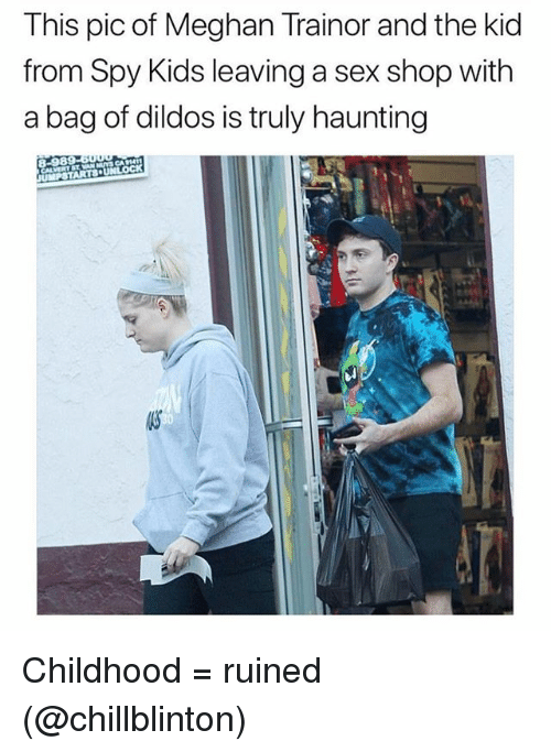 Funny, Sex, and Kids: This pic of Meghan Trainor and the kid  from Spy Kids leaving a sex shop with  a bag of dildos is truly haunting  8-989 Childhood = ruined (@chillblinton)