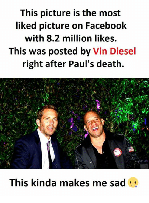 Facebook, Vin Diesel, and Death: This picture is the most  liked picture on Facebook  with 8.2 million likes.  This was posted by Vin Diesel  right after Paul's death.  This kinda makes me sad