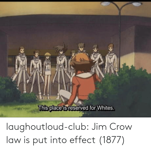law: This place is reserved for Whites. laughoutloud-club:  Jim Crow law is put into effect (1877)