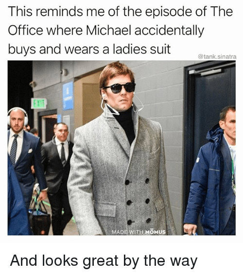 Funny, The Office, and Michael: This reminds me of the episode of The  Office where Michael accidentally  buys and wears a ladies suit tank snara  MADE WITH MOMUS And looks great by the way