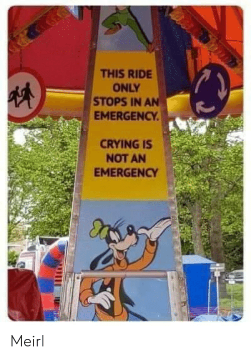 MeIRL, Emergency, and This: THIS RIDE  ONLY  STOPS IN AN  EMERGENCY  CRYINGIS  NOT AN  EMERGENCY Meirl