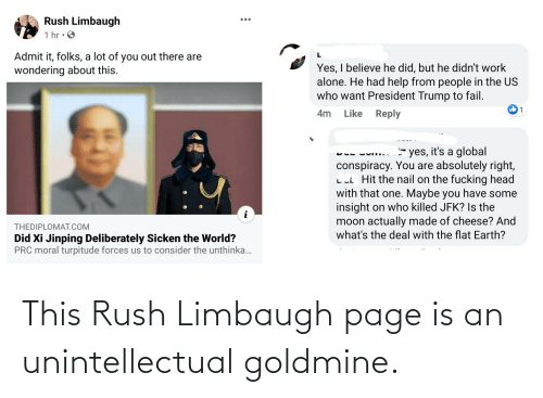 Rush: This Rush Limbaugh page is an unintellectual goldmine.