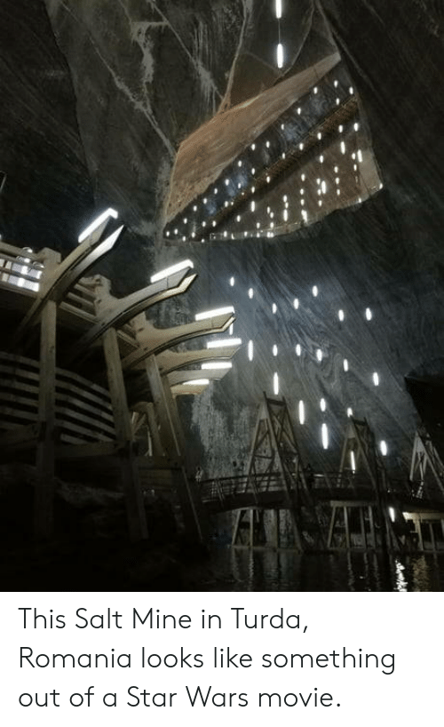 Star Wars, Movie, and Star: This Salt Mine in Turda, Romania looks like something out of a Star Wars movie.