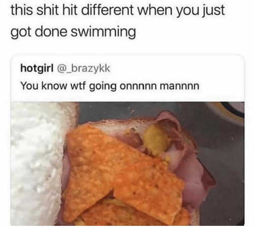 Shit, Wtf, and Swimming: this shit hit different when you just  got done swimming  hotgirl @_brazykk  You know wtf going onnnnn mannnn