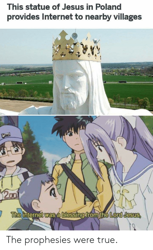 Anime, Internet, and Jesus: This statue of Jesus in Poland  provides Internet to nearby villages  The internet was a blessing from the Lord Jesus The prophesies were true.