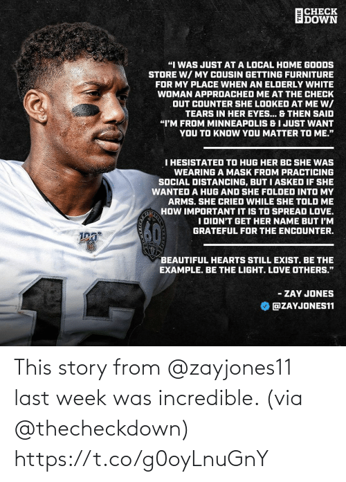 From: This story from @zayjones11 last week was incredible. (via @thecheckdown) https://t.co/g0oyLnuGnY