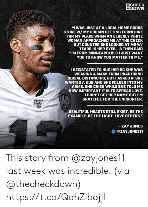 story: This story from @zayjones11  last week was incredible. (via @thecheckdown) https://t.co/QahZlbojjl