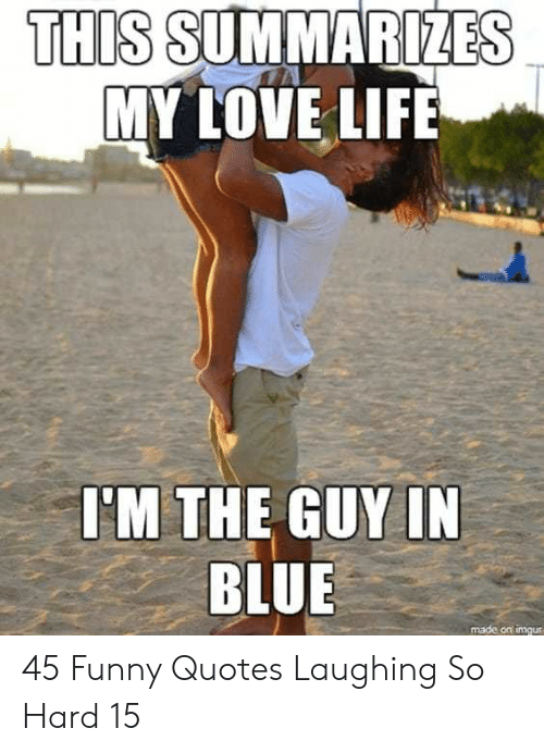 Laughing So: THIS SUMMARIZES  MY LOVE LIFE  I'M THE GUY IN  BLUE  made on imgur 45 Funny Quotes Laughing So Hard 15