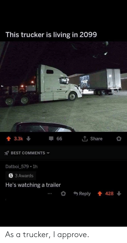 Best, Living, and Best Comments: This trucker is living in 2099  1Share  3.3k  66  BEST COMMENTS  Datboi_579 1h  3 Awards  He's watching a trailer  Reply 428 As a trucker, I approve.