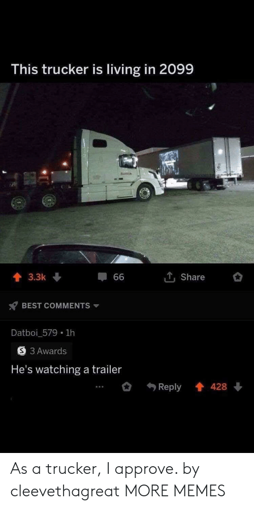 Dank, Memes, and Target: This trucker is living in 2099  1Share  3.3k  66  BEST COMMENTS  Datboi_579 1h  3 Awards  He's watching a trailer  Reply 428 As a trucker, I approve. by cleevethagreat MORE MEMES