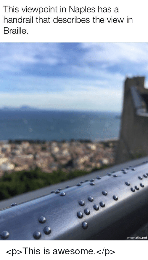 The View, Awesome, and Net: This viewpoint in Naples has a  handrail that describes the view in  Braille.  mematic.net <p>This is awesome.</p>