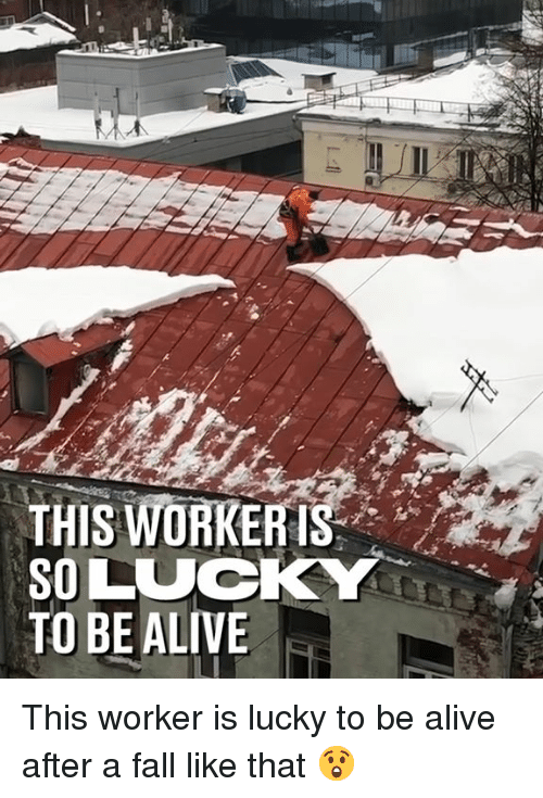Alive, Dank, and Fall: THIS WİRKERIS-  SO LUCKY  TO BE ALIVE This worker is lucky to be alive after a fall like that 😲