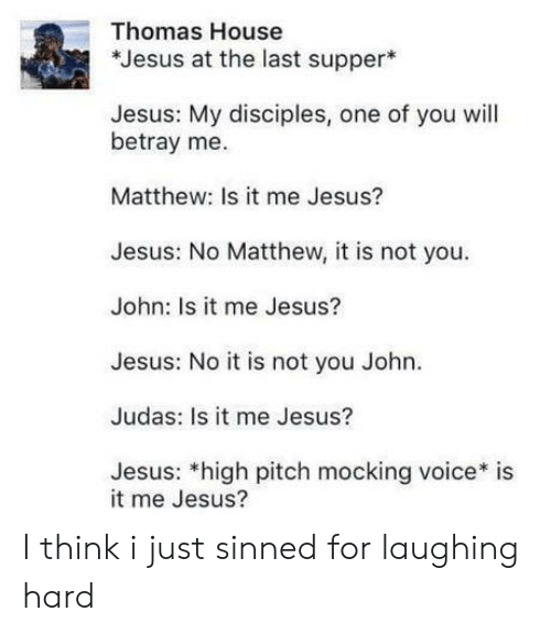 Is It Me: Thomas House  *Jesus at the last supper  Jesus: My disciples, one of you will  betray me.  Matthew: Is it me Jesus?  Jesus: No Matthew, it is not you  John: Is it me Jesus?  Jesus: No it is not you John.  Judas: Is it me Jesus?  Jesus: *high pitch mocking voice* is  it me Jesus? I think i just sinned for laughing hard