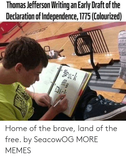 Dank, Memes, and Target: Thomas Jefferson Writing an Early Draft of the  Declaration of Independence, 1775 (Colourized)  Žuck  My  Dirk Home of the brave, land of the free. by SeacowOG MORE MEMES