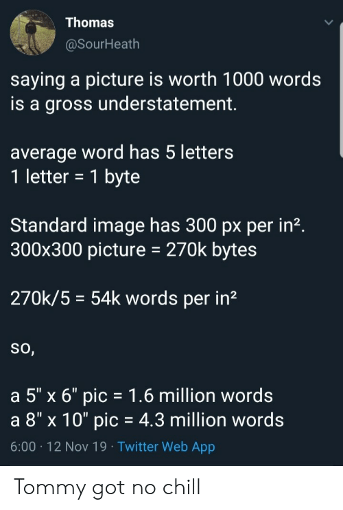 "letters: Thomas  @SourHeath  saying a picture is worth 1000 words  is a gross understatement  average word has 5 letters  1 letter = 1 byte  Standard image has 300 px per in2.  300x300 picture  270k bytes  270k/5 54k words per in2  So,  a 5"" x 6"" pic 1.6 million words  a 8"" x 10"" pic = 4.3 million words  6:00 12 Nov 19 Twitter Web App Tommy got no chill"