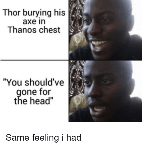 "Head, Thor, and Thanos: Thor burying his  axe in  Thanos chest  ""You should've  one for  the head"" Same feeling i had"