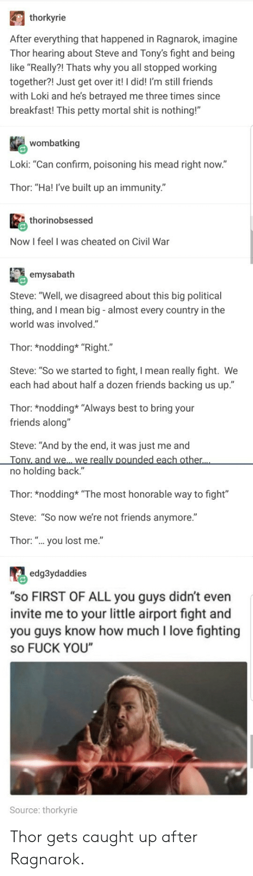 "Still Friends: thorkyrie  After everything that happened in Ragnarok, imagine  Thor hearing about Steve and Tony's fight and being  like ""Really?! Thats why you all stopped working  together?! Just get over it! I did! I'm still friends  with Loki and he's betrayed me three times since  breakfast! This petty mortal shit is nothing!""  wombatking  Loki: ""Can confirm, poisoning his mead right now.""  Thor: ""Ha! I've built up an immunity.""  thorinobsessed  Now I feel I was cheated on Civil War  emysabath  Steve: ""Well, we disagreed about this big political  thing, and I mean big - almost every country in the  world was involved.""  Thor: *nodding* ""Right.""  Steve: ""So we started to fight, I mean really fight. We  each had about half a dozen friends backing us up.""  Thor: *nodding* ""Always best to bring your  friends along""  Steve: ""And by the end, it was just me and  no holding back.""  Thor: *nodding ""The most honorable way to fight""  Steve: ""So now we're not friends anymore.""  Thor: "".. you lost me.""  edg3ydaddies  ""sO FIRST OF ALL you guys didn't even  invite me to your little airport fight and  you guys know how much I love fighting  so FUCK YOU  Source: thorkyrie Thor gets caught up after Ragnarok."