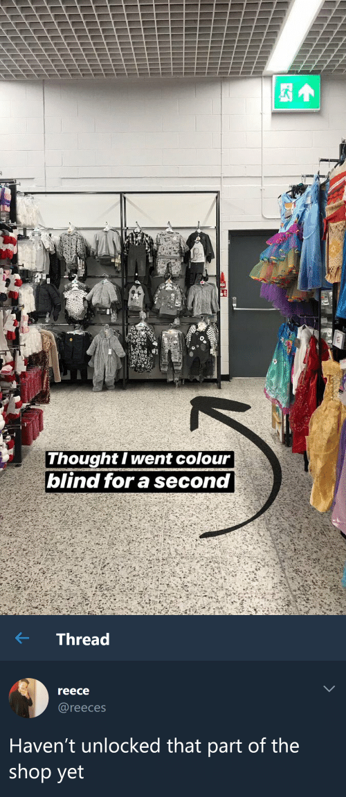 Colour: Thought I went colour  blind for a second   ← Thread  reece  @reeces  Haven't unlocked that part of the  shop yet