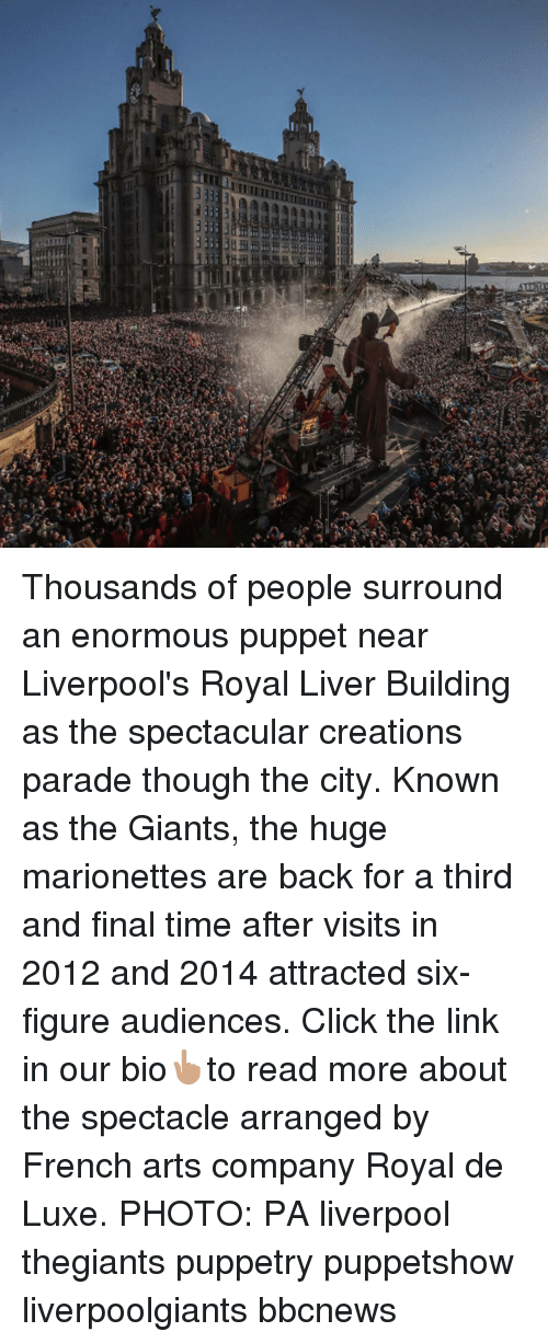 creations: Thousands of people surround an enormous puppet near Liverpool's Royal Liver Building as the spectacular creations parade though the city. Known as the Giants, the huge marionettes are back for a third and final time after visits in 2012 and 2014 attracted six-figure audiences. Click the link in our bio👆🏽to read more about the spectacle arranged by French arts company Royal de Luxe. PHOTO: PA liverpool thegiants puppetry puppetshow liverpoolgiants bbcnews
