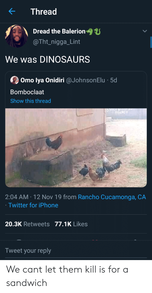 Bomboclaat: Thread  Dread the Balerion  @Tht_nigga_Lint  We was DINOSAURS  Omo lya Onidiri @JohnsonElu 5d  Bomboclaat  Show this thread  RANCH  2:04 AM 12 Nov 19 from Rancho Cucamonga, CA  Twitter for iPhone  20.3K Retweets 77.1K Likes  Tweet your reply We cant let them kill is for a sandwich