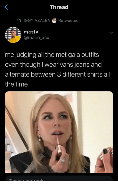 Vans: Thread  IGGY AZALEA Retweeted  @mario_XCX  me judging all the met gala outfits  even though I wear vans jeans and  alternate between 3 different shirts all  the time  酓