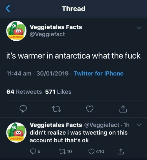 Facts, Iphone, and Twitter: Thread  Veggietales Facts  @Veggiefact  VegsieTales  it's warmer in antarctica what the fuck  11:44 am 30/01/2019 Twitter for iPhone  64 Retweets 571 Likes  Veggietales Facts @Veggiefact. 1h v  account but that's ok  95  didn't realize i was tweeting on this  t10  410