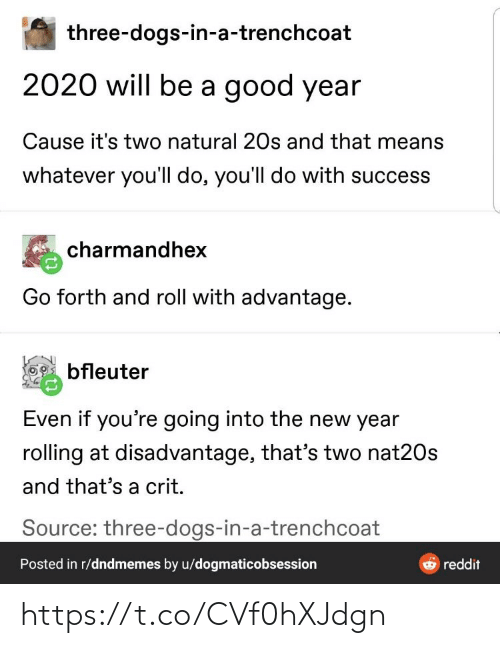 Dogs: three-dogs-in-a-trenchcoat  2020 will be a good year  Cause it's two natural 20s and that means  whatever you'll do, you'll do with success  charmandhex  Go forth and roll with advantage.  bfleuter  Even if you're going into the new year  rolling at disadvantage, that's two nat20s  and that's a crit.  Source: three-dogs-in-a-trenchcoat  Posted in r/dndmemes by u/dogmaticobsession  reddit https://t.co/CVf0hXJdgn