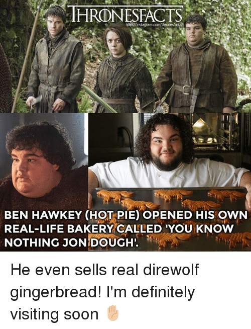 Doughe: THRONESFACTS  acts  BEN HAWKEY (HOT PIE) OPENED HIS OWN  REAL-LIFE BAKERY CALLED 'YOU KNOW  NOTHING JON!DOUGH. He even sells real direwolf gingerbread! I'm definitely visiting soon ✋🏼