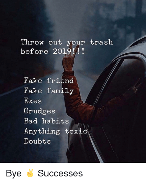 Doubts: Throw out your trash  before 2019!!  Fake friend  Fake family  Exes  Grudges  Bad habits  Anything toxic  Doubts Bye ✌️ Successes