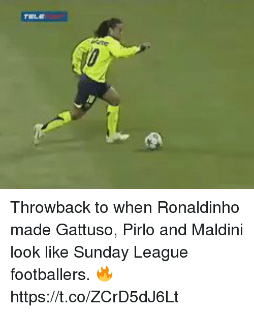 Soccer, Ronaldinho, and Sunday: Throwback to when Ronaldinho made Gattuso, Pirlo and Maldini look like Sunday League footballers. 🔥 https://t.co/ZCrD5dJ6Lt