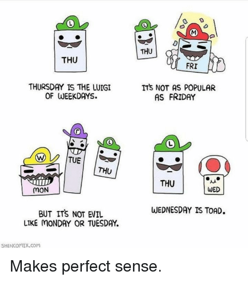 Friday, Memes, and Wednesday: THU  THU  FRI  THURSDAY IS THE LUIGI  OF WEEKDAYS.  ITS NOT AS POPULAR  AS FRIDAY  THU  THU  MON  WED  WEDNESDAY IS TOAD  BUT ITS NOT EVIL  LIKE MONDAY OR TUESDAY  SHENCOMIX.coM Makes perfect sense.
