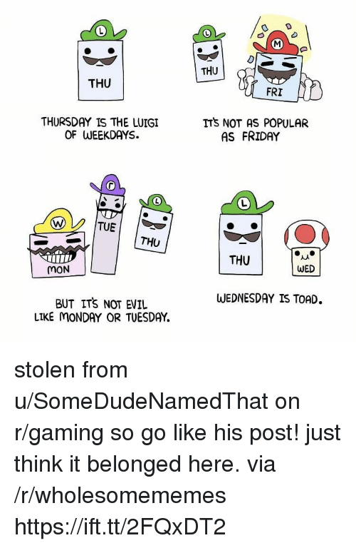 Friday, Wednesday, and Monday: THU  THU  FRI  THURSDAY IS THE LUIGI  OF WEEKDAYS.  ITS NOT AS POPULAR  AS FRIDAY  THU  THU  MON  WED  WEDNESDAY IS TOAD.  BUT ITS NOT EVIL  LIKE MONDAY OR TUESDAY. stolen from u/SomeDudeNamedThat on r/gaming so go like his post! just think it belonged here. via /r/wholesomememes https://ift.tt/2FQxDT2