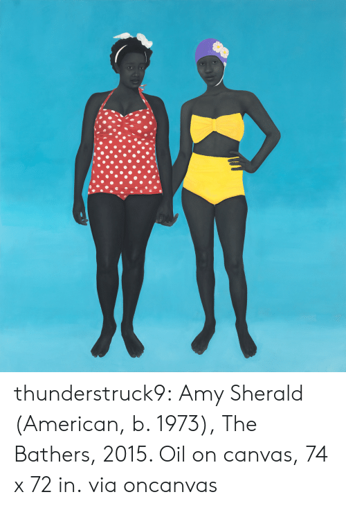 Tumblr, American, and Blog: thunderstruck9: Amy Sherald (American, b. 1973), The Bathers, 2015. Oil on canvas, 74 x 72 in. viaoncanvas