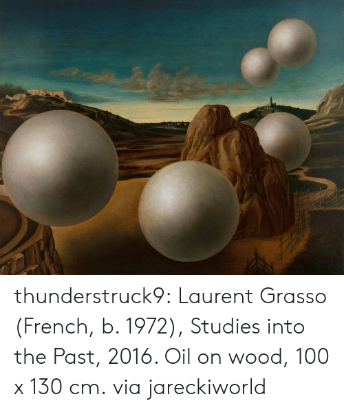 Tumblr, Blog, and French: thunderstruck9: Laurent Grasso (French, b. 1972), Studies into the Past, 2016. Oil on wood, 100 x 130 cm. via jareckiworld