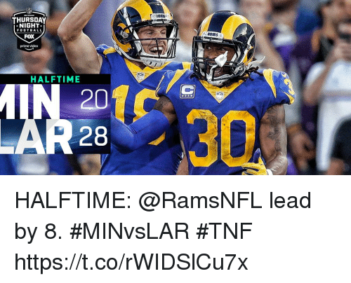 Memes, Video, and 🤖: THURSDAY  NIGHT  FOOTB A LL  FOX  prime video  BRMS  HALFTIME  20  28  30 HALFTIME: @RamsNFL lead by 8. #MINvsLAR #TNF https://t.co/rWIDSlCu7x