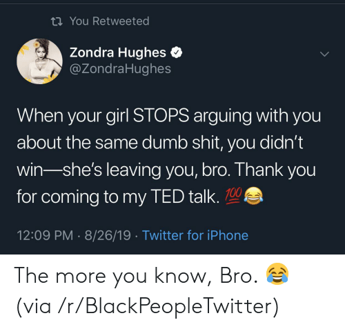 Blackpeopletwitter, Dumb, and Iphone: ti You Retweeted  Zondra Hughes  @ZondraHughes  When your girl STOPS arguing with you  about the same dumb shit, you didn't  win-she's leaving you, bro. Thank you  for coming to my TED talk.  12:09 PM 8/26/19 Twitter for iPhone The more you know, Bro. 😂 (via /r/BlackPeopleTwitter)