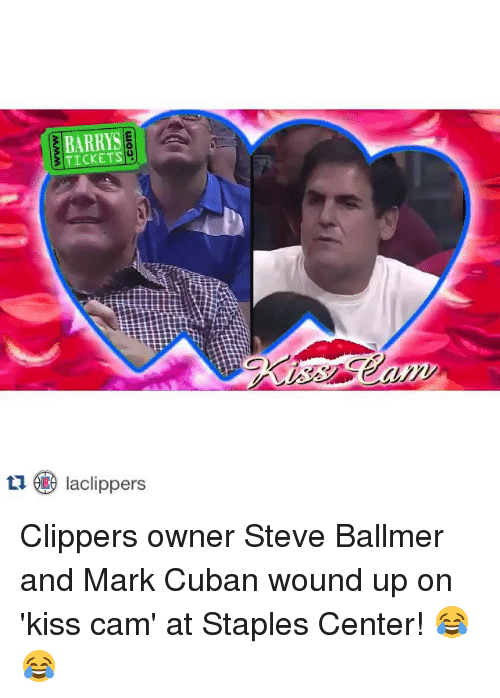 Sports, Ups, and Steve Ballmer: TICKETS  tu Iaclippers Clippers owner Steve Ballmer and Mark Cuban wound up on 'kiss cam' at Staples Center! 😂😂