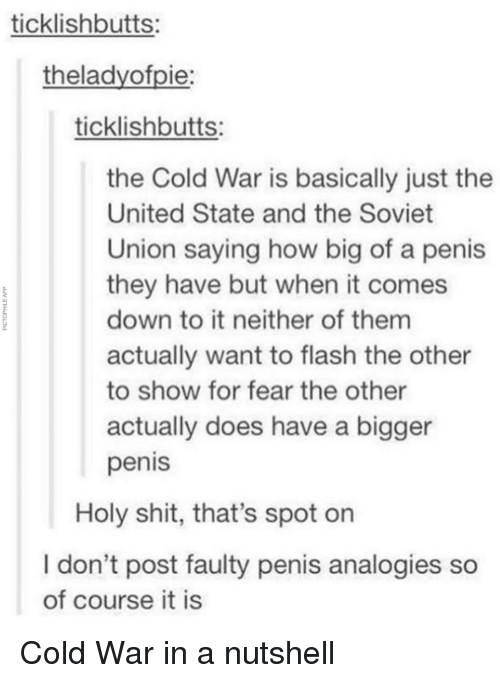 Shit, Penis, and United: ticklishbutts:  theladyofpie:  ticklishbutts:  the Cold War is basically just the  United State and the Soviet  Union saying how big of a peni  they have but when it comes  down to it neither of them  actually want to flash the other  to show for fear the other  actually does have a bigger  penis  0.  Holy shit, that's spot on  I don't post faulty penis analogies so  of course it is Cold War in a nutshell