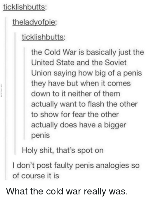 Shit, Penis, and United: ticklishbutts:  theladyofpie:  ticklishbutts:  the Cold War is basically just the  United State and the Soviet  Union saying how big of a peni  they have but when it comes  down to it neither of them  actually want to flash the other  to show for fear the other  actually does have a bigger  penis  0.  Holy shit, that's spot on  I don't post faulty penis analogies so  of course it is What the cold war really was.