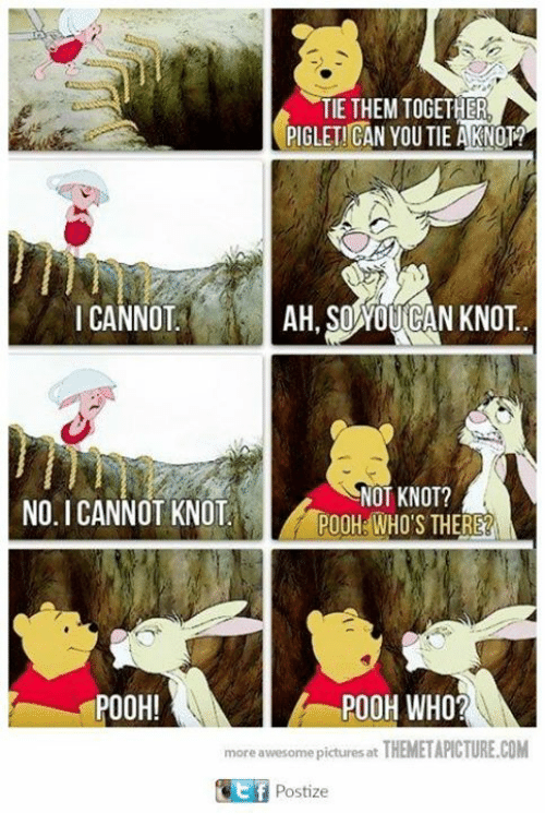 Knotted: TIE THEM TOGETHER  PIGLETICAN YOU TIE A KNOTA  AH SOWOUGAN KNOT  I CANNOT  NOT KNOT?  NO I CANNOT KNOT  POOH WHO'S THERE  POOH!  POOH WHO?  more awesome pictures at  THEMETAPICTURE.COM  Postize