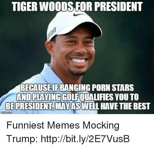 Memes, Tiger Woods, and Best: TIGER WOODS FOR PRESIDENT  BECAUSEIF BANGING PORN STARS  AND PLAYING GOLFQUALIFIES YOU TO  BE PRESIDENT,MAYASWELL HAVE THE BEST Funniest Memes Mocking Trump: http://bit.ly/2E7VusB